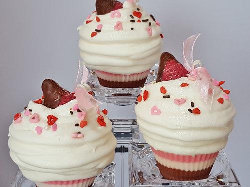 Neopolitan Kiss Cupcake Candle