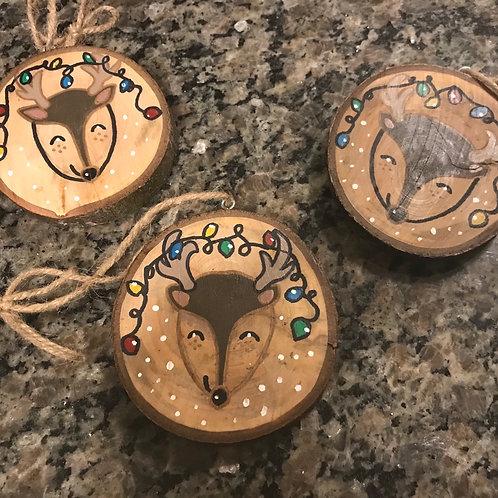 Christmas Reindeer Wooden Ornaments