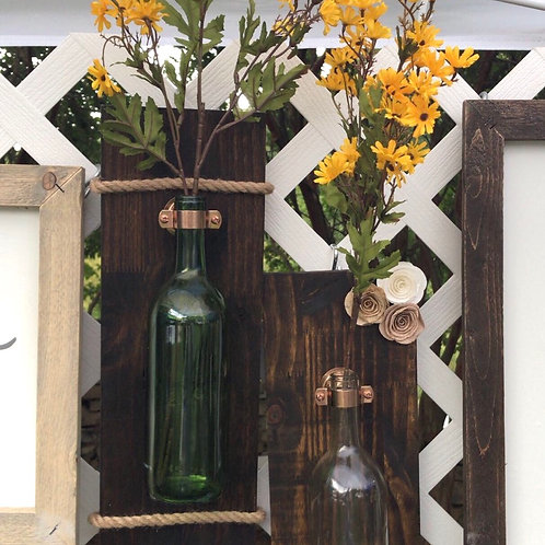 Rustic Wine bottle wall hanging, single