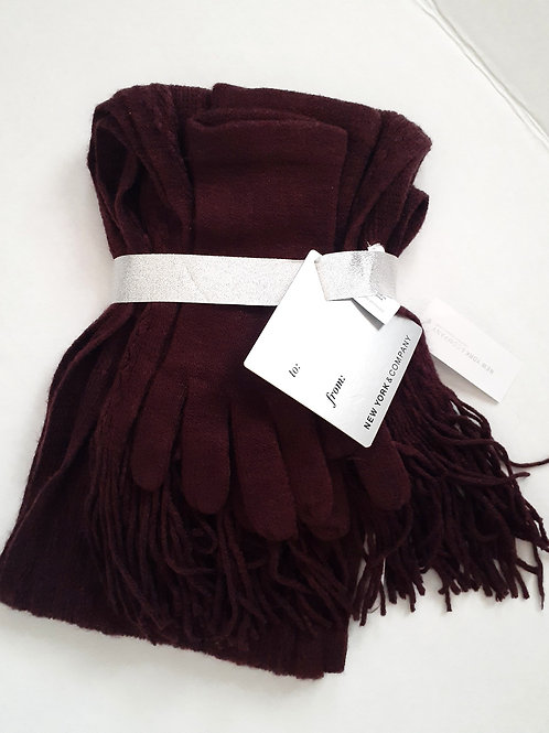 Burgundy Gloves & Scarf