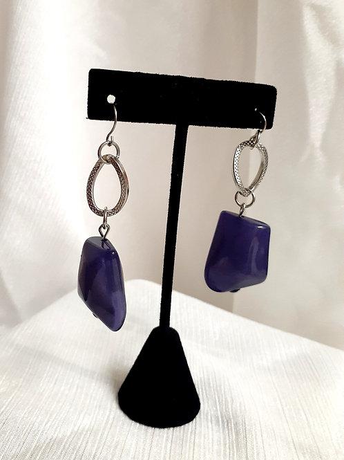 Purple Stone Drop Earring