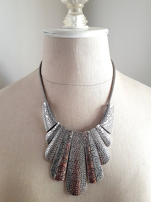 Silver Print Necklace
