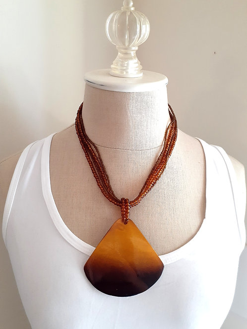 Mustard Shell Beaded Necklace