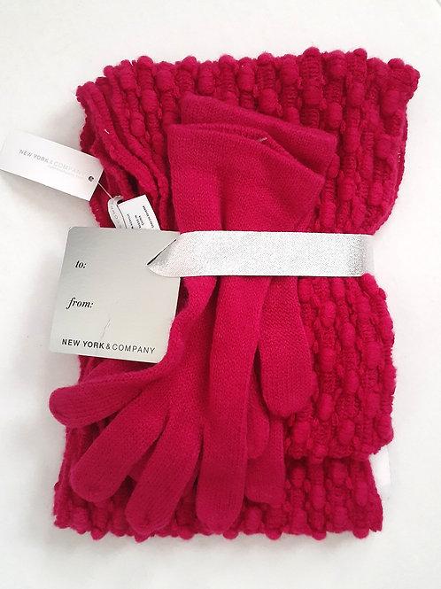 Fuchsia Gloves & Scarf Set