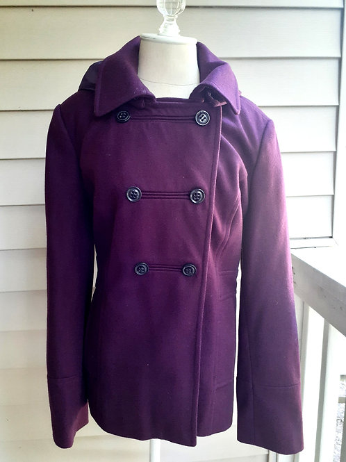 Plum Peacoat with Detachable Hood