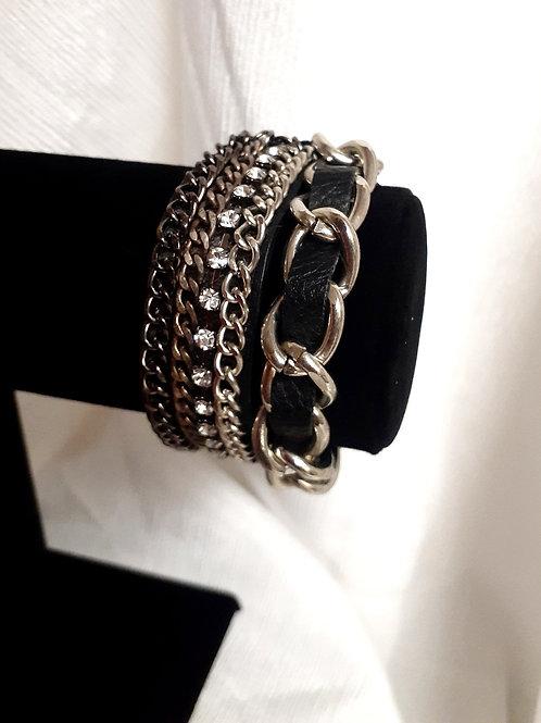 Leather & Chain Bracelet