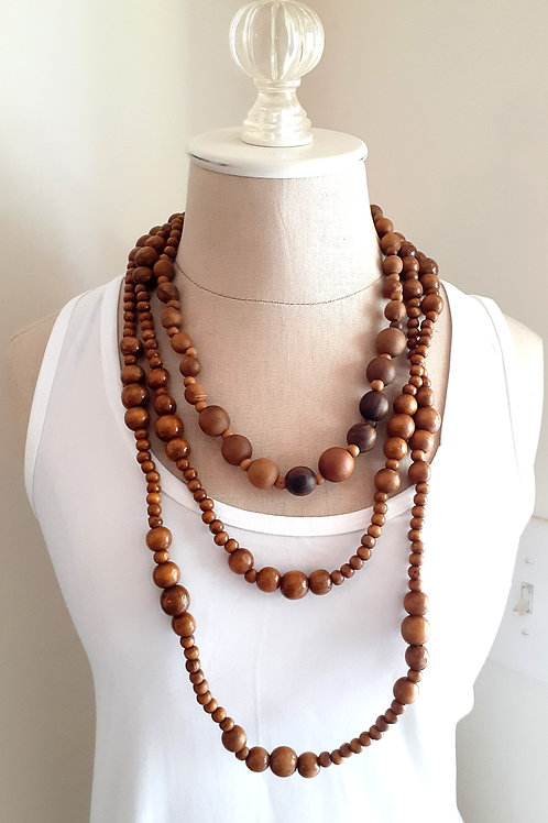 2-Piece Wood Beaded Necklace