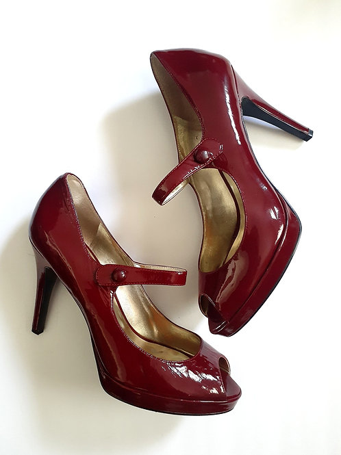 Cherry Red Peep-Toe Heel
