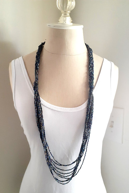 Long Beaded Iridescent Necklace