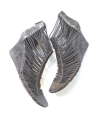 Bronze Metallic Strappy Wedge Sandal
