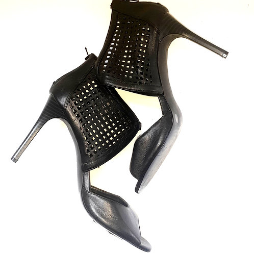 Black Mesh-Accent Peep-Toe Stiletto