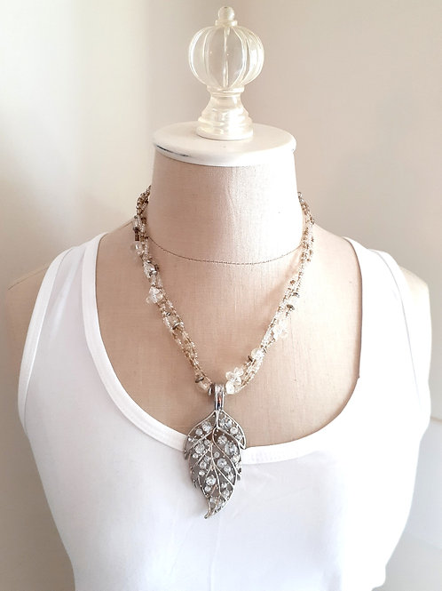 Rhinestones Leaf Necklace