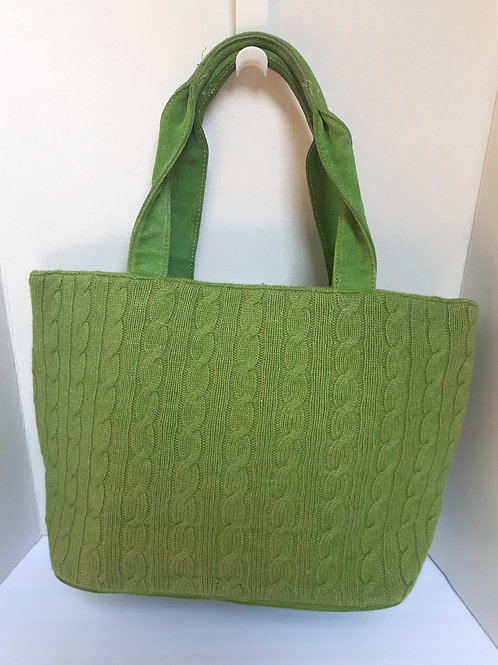 Apple Green Knit Tote