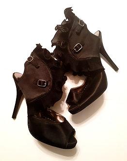 Black Ruffle & Buckle Heel