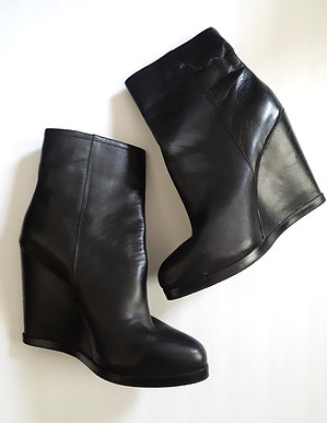 Black Leather Platform Boot