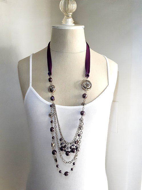 Long Necklace with Plum Ribbon