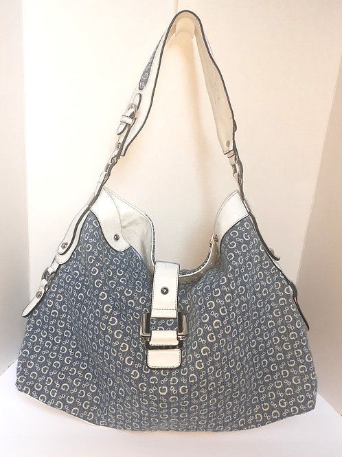 Print Shoulder Bag w/White Accents