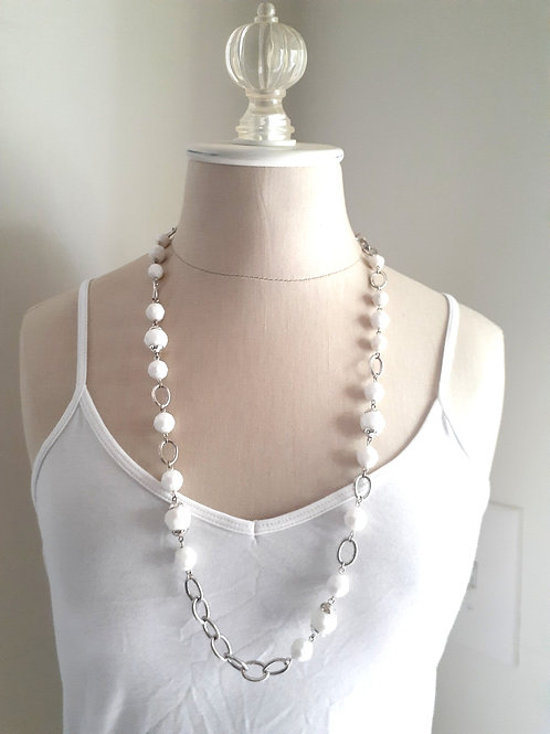 White & Silver Beaded Chain
