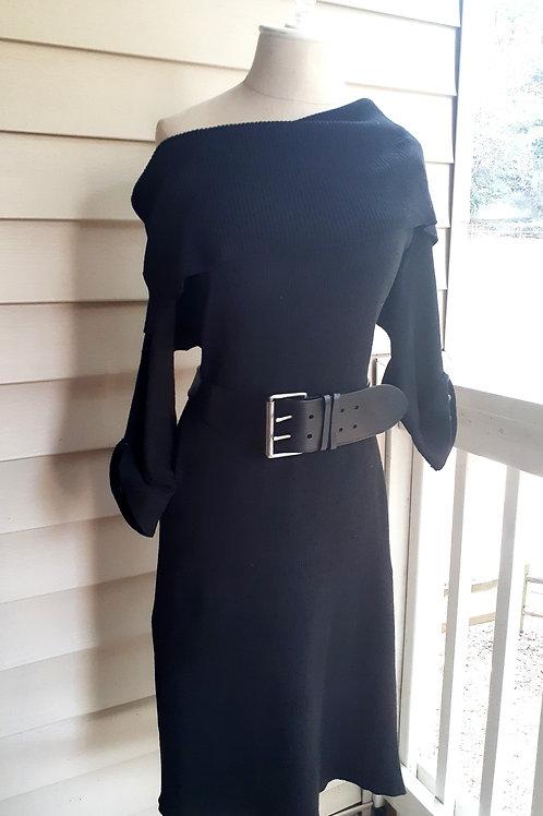 Off-The-Shoulder Ribbed Dress with Belt