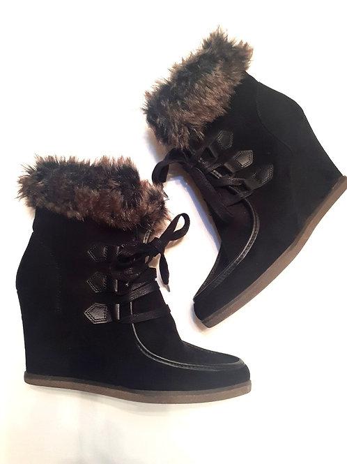 Fur Trim Wedge Boot
