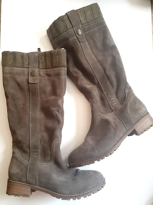 Gray Suede Flat Boot