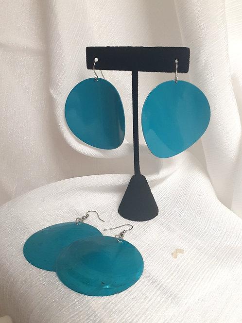 (2) Turquoise Circle Earrings