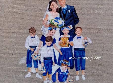 Cortège mariage sur lin