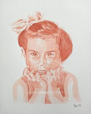 Portrait aquarelle sanguine