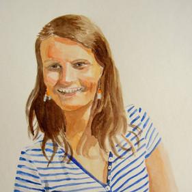 Portrait femme - aquarelle polychrome