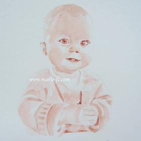 Portrait Bébé - aquarelle couleur sangui