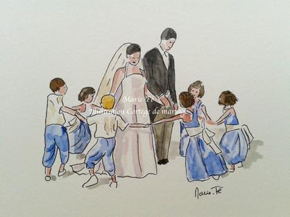 Cortège Mariage - Aquarelle couleur - M
