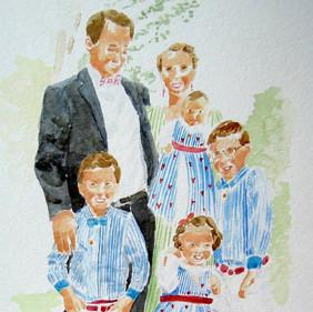 Portrait de famille - illustration aquar