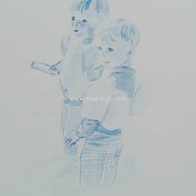 Portraits de jumeaux - aquarelle bleue o