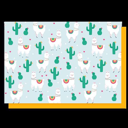 Cartão Cactus & Lhamas