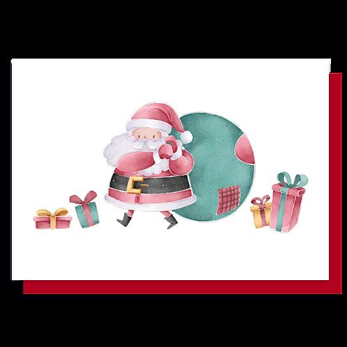 Cartão Noel Aquarelado