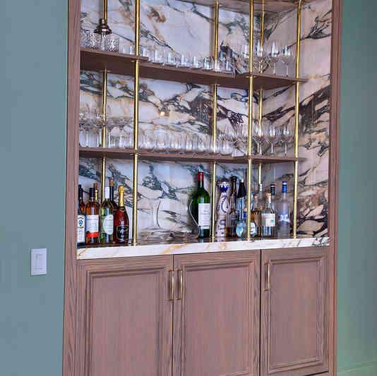 Custom Built-in Bar with Floating Shelves