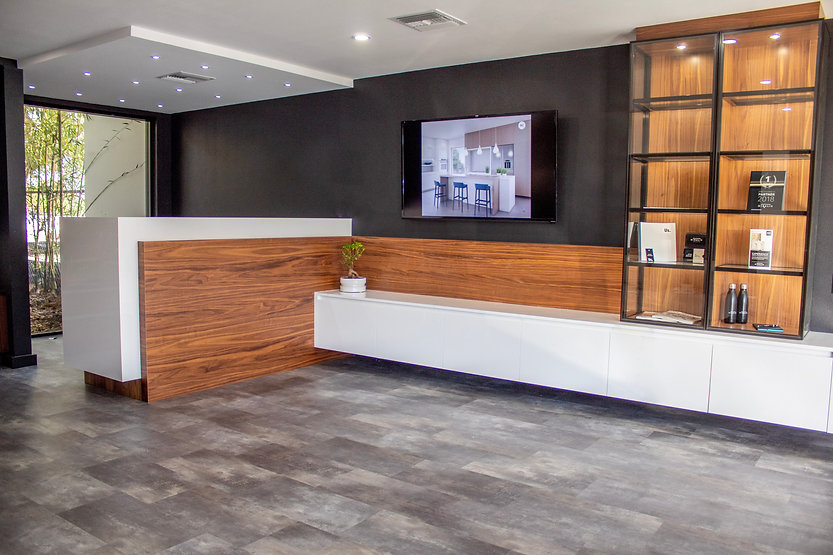 Sarasota custom cabinetry design center featuring our manufacturing partners Miralis, DOCA and Neff