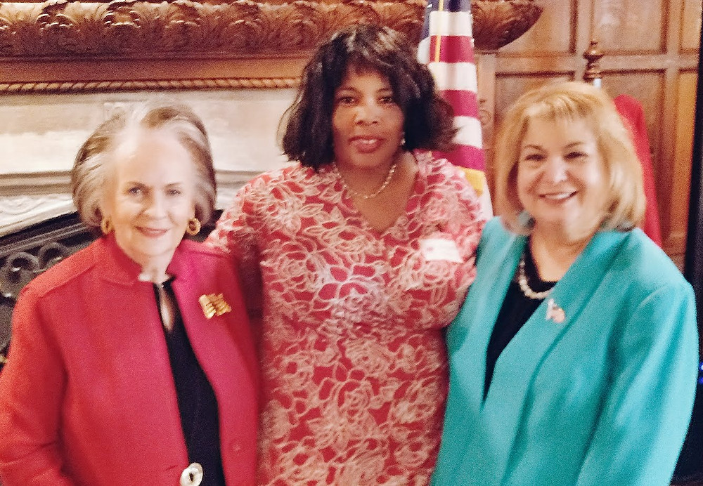 From left to right Nancy Griffin former President of CCWRC, center Bri Cooper, Ann Schockett President of NFRW