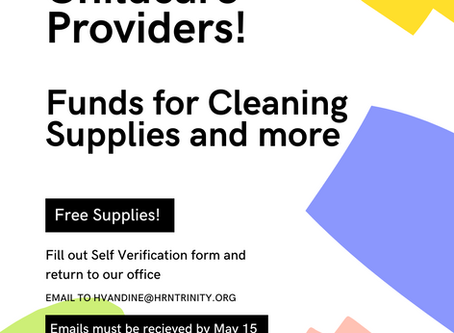 Childcare Providers: Funds for Cleaning Supplies and PPE Available
