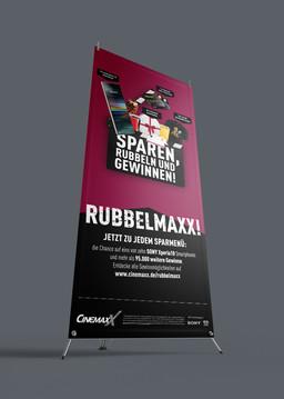 """Aufsteller """"Rubbel Maxx!"""""""