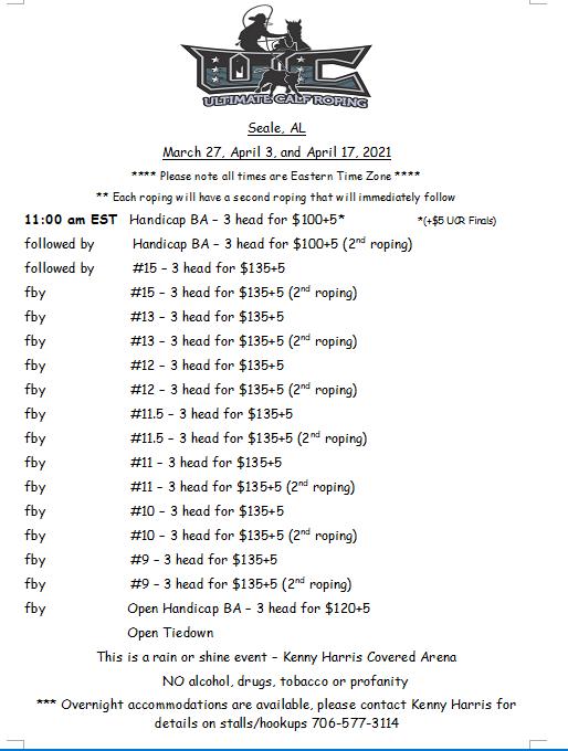 Seale, AL - March 27, April 3 & 17, 2021