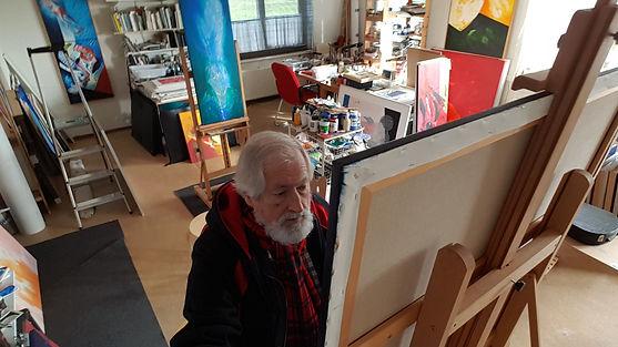 Marten Post at work in studio in Kesteren, Neder-Betuwe, The Netherlands