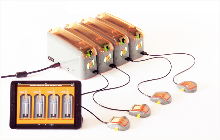 4 Flow sensors connected to 4 ExiGo syringe pumps.jpg