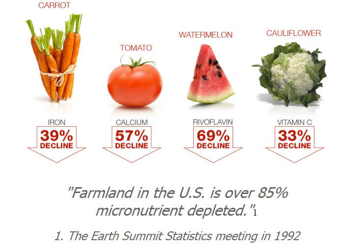 Nutritionally depleted farmland in the United States