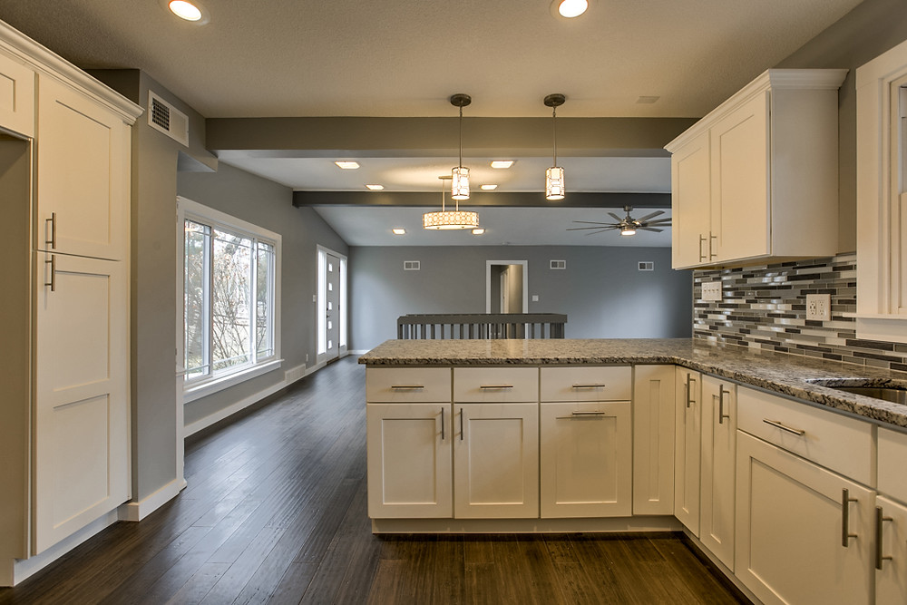 View from kitchen into great room: 6345 Robin Hood Dr, Merriam, KS 66203 home for sale