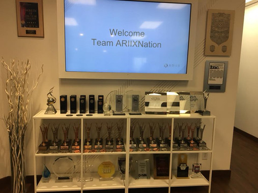 Ariix business awards displayed at Salt Lake City corporate headquarters.jpg