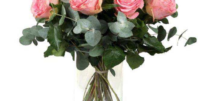 12 rosa Rosen mit Grün