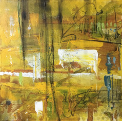 Fall Farming - mixed media on canvas - 12 x12 in.