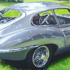 Alan's Jag XKE - acrylic on canvas - 12 x 36 in.