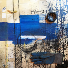 Blue - mixed media on canvas - 24 x 24 in.
